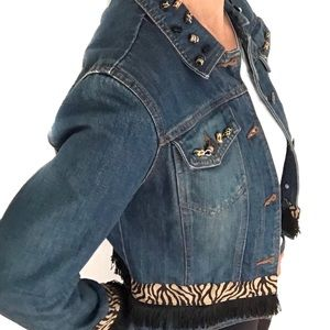 The Limited Animal Print Jean Jacket M